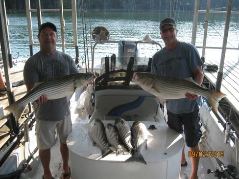 Beaver lake striped bass fishing report 09 02 2015 for Striped bass fishing reports
